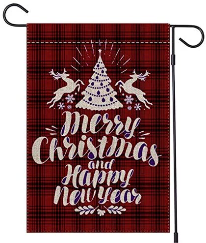 Lapogy 12.5″x18″Christmas Garden Flag,Double-Sided Red Black Rustic Buffalo Plaid with Reindeer,Christmas Tree and Blessing Christmas Decorations Banner,Winter Outdoor Holiday House Yard Xmas Flag.