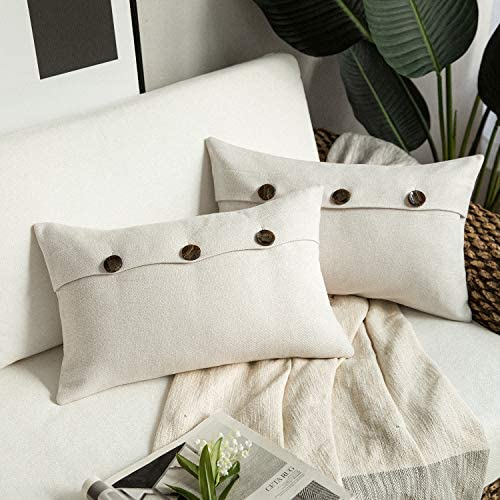 Phantoscope Farmhouse Throw Pillow Covers Triple Button Vintage Linen Decorative Pillow Cases for Couch Bed and Chair Off White, 12 x 20 inches 30 x 50 cm, Pack of 2