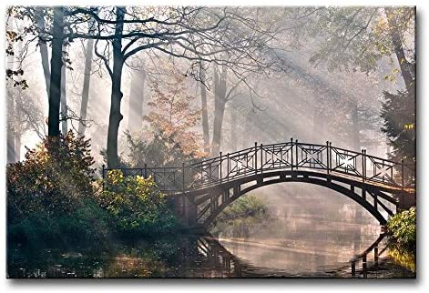 Autumn Landscape Canvas Print Wall Art Painting for Home Decor,Tranquil Autumn Forest with River and Bridge on The Sunny Morning Paintings Modern Framed Artwork