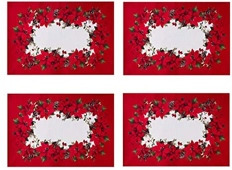 Newbridge Blooming Poinsettia's Double Bordered Christmas Fabric Placemats, Traditional Red and White Poinsettia Print Easy Care, Stain Release Placemats, Set of 4 Border Placemats