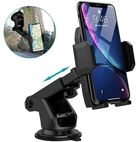 Car Phone Mount Holder, Quntis Universal Car Cell Phone Holder for Dashboard Windshield with Sticky Pad, Easy Button Release, Extendable Arm Fit for iPhone Samsung Galaxy Google LG (2.36″-3.74″ Width)