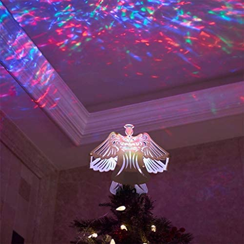 EAMBRITE 11″ Hollow Christmas Angel Tree Topper with Rotating Magic Ripple Projector for Crown Xmas Tree Topper Decoration