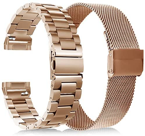 KOREDA Compatible with Fitbit Versa 3/Fitbit Sense Bands Sets for Women Men, Stainless Steel Metal Band + Mesh Loop Replacement Bracelet Wristband Strap for Fitbit Versa 3/Sense Smartwatch (Rose Gold)