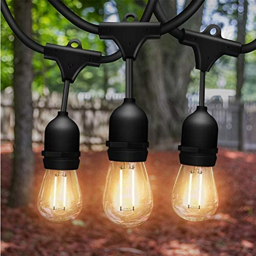 Solatec LED String Lights, Shatterproof 48FT 15 Hanging Sockets Commercial Grade Waterproof 2W Outdoor String Light Decor for Patio, Garden, Balcony, Deck S14 2W