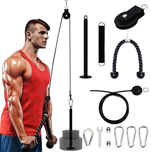 Arm Strength Training Pulley Set – Indoor and Outdoor Lift Forearm Strength Fitness Equipment High Pull Down Arm Strength Triceps Fitness Equipment Home Fitness Rope and Cable Pulley System