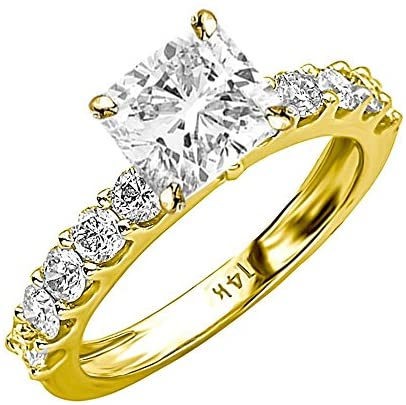 3.4 Ctw 14K White Gold Classic Side Stone Prong Set GIA Certified Diamond Engagement Ring Cushion Cut (2.4 Ct I Color SI2 Clarity Center Stone)