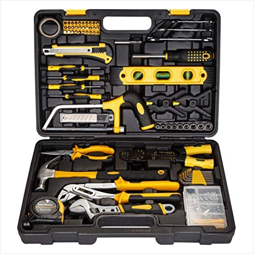 CARTMAN 218-Piece Tool Set – General Household Hand Tool Kit with Plastic Toolbox Storage Case, Yellow
