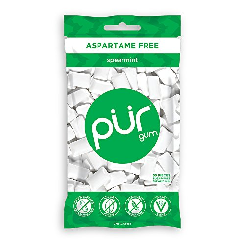 PUR 100% Xylitol Chewing Gum, Spearmint – Sugar-Free + Aspartame Free, Vegan + non GMO, 55 Count (Pack of 1)