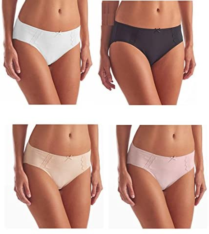 Hi- Cut Underwear Brushed Microfiber with Lace – Ultra Soft Comfort- 4 Pack