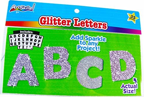 Glitter Bulletin Letters – Silver (35 Uppercase Characters)