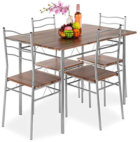 Best Choice Products 5-Piece 4ft Modern Wooden Kitchen Table Dining Set w/Metal Legs, 4 Chairs – Brown/Silver