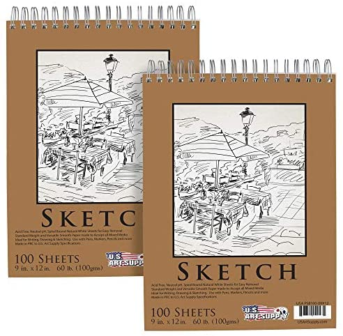 U.S. Art Supply 9″ x 12″ Premium Spiral Bound Sketch Pad, (Pack of 2 Pads) Each Pad has 100-Sheets, 60 Pound (100gsm) (Pack of 2 Pads)