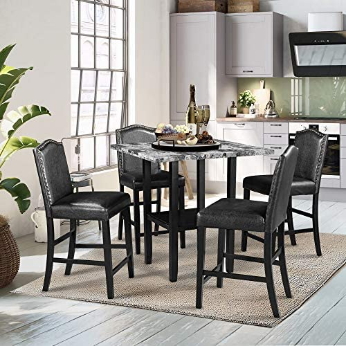 Harper & Bright Designs 5-Piece Dining Table Set with Faux Marble Veneer Tabletop/Bottom Shelf/ 4 Upholstered Chairs for Kitchen Dining Room Furniture Set, Black Chair+Gray Table