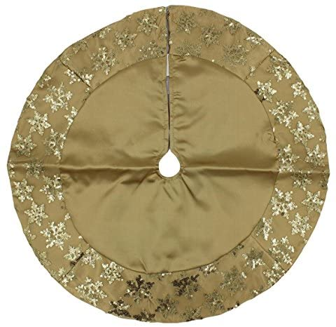 Kurt Adler Tiny 20-inch Miniature Satin Tree Skirt with Sequined Snowflake Border for Table Top Trees (Gold)