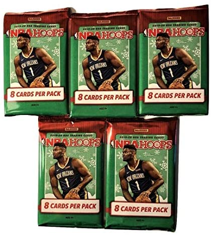 2019-20 Panini Holiday Hoops Basketball Cards (5-Packs, 40 Total Cards) – Chase Zion Williamson Rookie and Autograph Card – PLUS Bonus Zion Card!