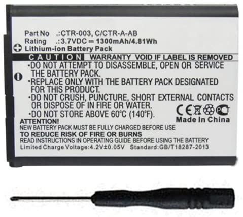 MPF Products CTR-003 C/CTR-A-AB Battery Replacement Compatible with Nintendo 3DS N3DS CTR-001 MIN-CTR-001 Gaming Console with Installation Tool
