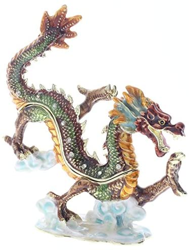Asian Dragon Trinket Box, Hand Set Clear Swarovski Crystal, Hand Painted Colorful Enamel Over Solid Pewter Base, Inside of Box with Lovely Enamel, Comes in Beautiful Gift Box, L 4.50 X H 4.75 X W 2.00