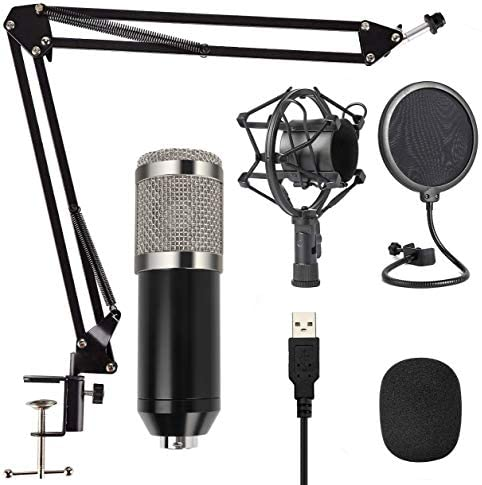 Capacitive Microphone Kit, Condenser Microphone, Live Game and Recording Live K Song Best Choice (MKF-White)