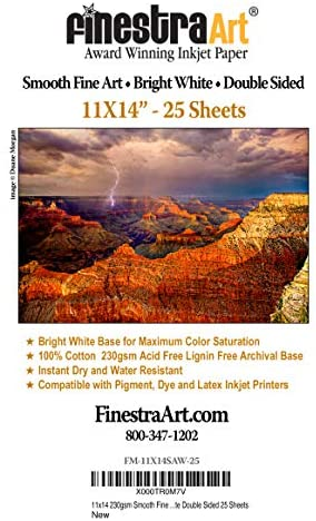 11″ X 14″ Smooth Fine Art Archive Bright White Double Sided – 25 Sheets