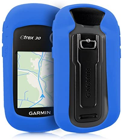 kwmobile Case Compatible with Garmin eTrex 10/20/30/201x/209x/309x – GPS Handset Navigation System Soft Silicone Skin Protective Cover – Blue