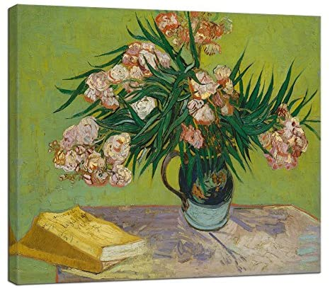 Wieco Art Oleanders 1888 Giclee Canvas Prints Wall Art by Van Gogh Floral Oil Paintings Reproduction for Home Decorations Modern Stretched and Framed HD Classic Abstract Flowers Pictures Artwork