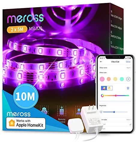 Led Strip Lights Works with Apple HomeKit, meross Smart 5050 RGB Strip, Compatible with Siri, Alexa&Google and SmartThings, for Home, Kitchen, Bedroom, Party, Christmas, Halloween, (2X16.4FT)
