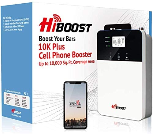 HiBoost Cell Phone Signal Booster for Home and Office Signal Extender Cellular Booster Signal Amplifier up to 4,000-10,000 Sq.Ft,Compatible AT&T,T-Mobile,Verizon, Sprint compatible with all US carrier