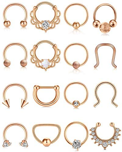 Briana Williams 16g Septum Rings Stainless Steel Clicker Septum Piercing Jewelry Horseshoe Captive Bead Rings Cartilage Daith Tragus Earrings Clicker Rings Body Piercing Jewelry for Women Men