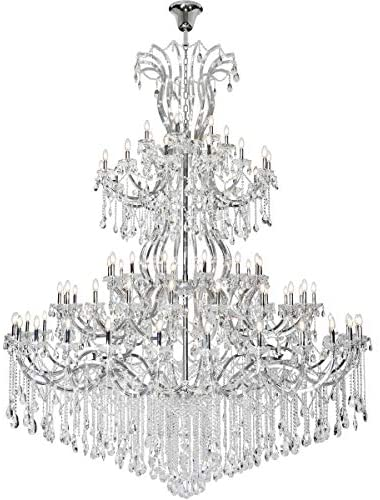 Chandeliers 84 Light Fixtures with Chrome Tone Finish Steel/Glass E12 120″ 3360 Watts