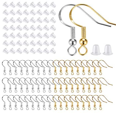 200 PCS/100Pairs 925 Sterling Silver and Gold Earring Hooks,Hypo-allergenic Fish Earring Hooks Earwires for DIY Jewelry Making Supplies with 200 PCS Soft Silicone Earring Backs,Total 400 PCS (Silver + Gold)