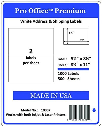 Pro Office Shipping Labels for Printers – Premium 1000 Half Sheet Self Adhesive – Ink Jet and Laser Printers, White, Made in USA, 5.5 x 8.5 Inches, Pack of 500, Same Size As 8126 and More