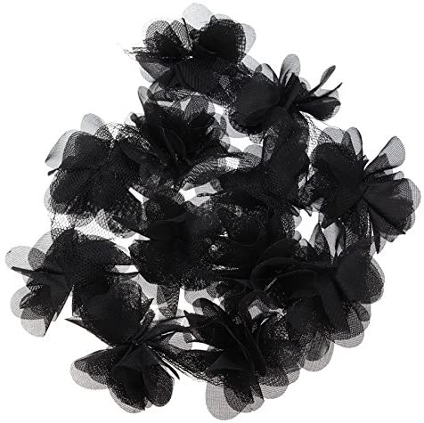 Yalulu 5 Yards 3D Chiffon Cluster Flowers DIY Lace Trim Dress Decoration Tulle Fabric Applique Trimming Craft Sewing (Black)