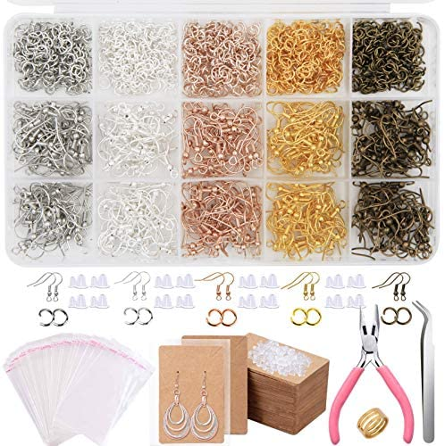 ZTWEDEN 2200Pcs Earring Making Supplies Kit with 5 Colors Earring Hooks Earring Backs Jump Rings Earring Holder Cards Earring Findings for Earring Necklace Repair Jewelry Making