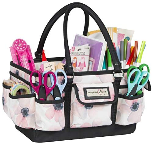 Everything Mary White Flower Deluxe Store and Tote – Storage Craft Bag Organizer for Crafts, Sewing, Paper, Art, Desk, Canvas, Supplies Storage Organization with Handles for Travel