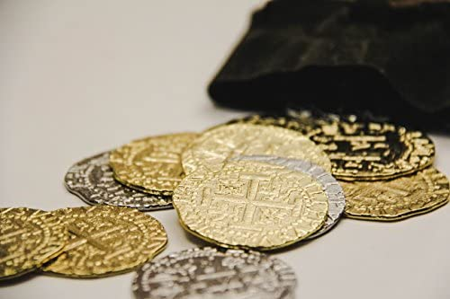 C.O.V.E. Pirate Treasure Coins – Group of 12 Gold and Silver Doubloon Replicas