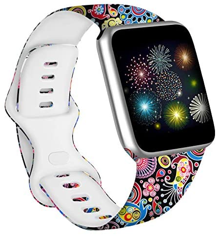 Vanjua Floral Bands Compatible with Apple Watch 38mm 40mm 42mm 44mm Soft Silicone Pattern Printed Replacement Wristband Strap Compatible with iWatch Series 6 5 4 3 2 1 SE (Fireworks, 38mm/40mm-S/M)