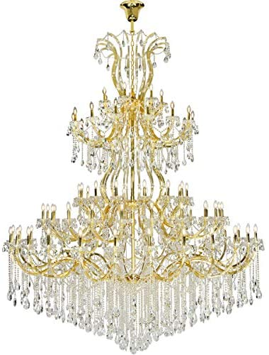 Chandeliers 84 Light Fixtures with Gold Tone Finish Steel/Glass E12 120″ 3360 Watts