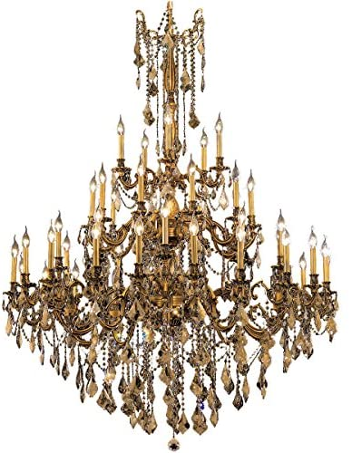 Elegant Lighting 9245G54FG-GT/RC Royal Cut Smoky Golden Teak Crystal Rosalia 45-Light, Three-Tier Crystal Chandelier, 54″ x 66″, Finished in French Gold with Smoky Golden Teak Crystals