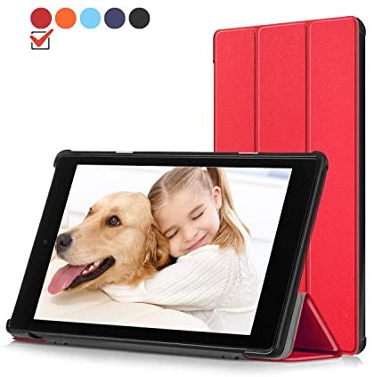 Folio Case for All-New Amazon Fire HD 10 Tablet (7th Generation, 2017 Release) – PU Leather Lightweight Protective Slim Fit Smart Stand Cover with Auto Wake/Sleep for Fire HD 10.1″ Tablet
