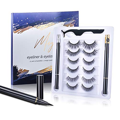 Magic False Eyelashes with Eyeliner – New Formula No Glue Non-Magnetic Eyelashes Set,Reusable Fake Eyelashes Kit with 6 Pairs Lashes,2 Liquid Eyeliners and Tweezers,Natural Look, Waterproof
