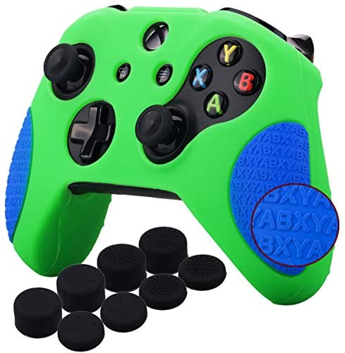 YoRHa Thickened Rubber Silicone Cover Skin Case 3D Letters Massage Grip for Xbox One S/X Controller x 1(Green&Blue) with PRO Thumb Grips x 8