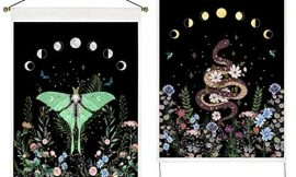 Uspring Pack of 2 Moon Phase Tapestry Flower Tapestry Floral Moth Tapestry Snake Tapestry Black Background Tapestry Wall Hanging for Room (13.8 x 19.7 inches)