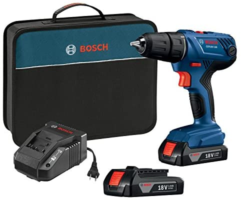 Bosch 18V Compact 1/2″ Drill/Driver Kit with (2) 1.5 Ah Slim Pack Batteries GSR18V-190B22