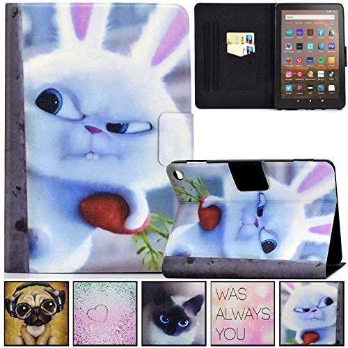 Kindle Fire HD 8 Plus 2020 Case, Artyond PU Leather Smart with Auto Sleep/Wake Stand Card Slot Slim Case for Amazon All-New Kindle Fire HD 8 Plus Tablet (10th Generation,2020 Release) (Rabbit)