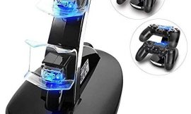 KONKY – PS4 Controller Charging Dock Stand, USB Dual Charger Station Accessory with LED Indicator for Playstation 4 / PS4 Slim Pro and PSVR Controller, Black