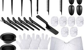 26 Pieces Hair Dye Coloring Kit, Hair Color Brush, Dye Mixing Bowl, Weave Comb, Pin Tail Comb, Salon Cape, Ear Cover, Sectioning Clips and Gloves, DIY Beauty Salon Tool for Balayage Highlighting