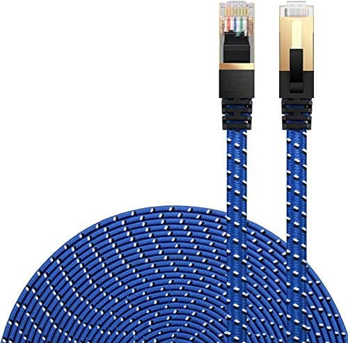 Cat 7 Ethernet Cable, DanYee Nylon Braided Network Cable Internet Cable 3ft 10ft 16ft 26ft 33ft 50ft 66ft 100ft CAT7 High Speed Professional Gold Plated Plug STP Wires CAT 7 RJ45 LAN Cable (Blue 3ft)