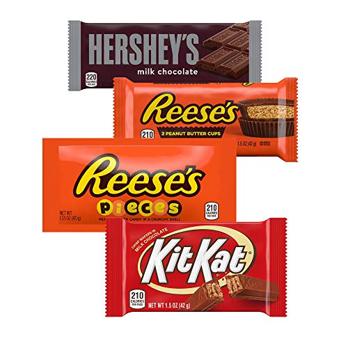 HERSHEY'S, KIT KAT, REESE'S Chocolate Candy Variety Pack, 1.9 Pounds, Full Size Bars, 20 Count