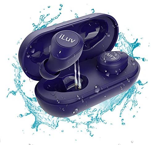 iLuv TB200 Blue True Wireless Earbuds Cordless in-Ear Bluetooth 5.0 with Hands-Free Call Microphone, IPX6 Waterproof Protection, High-Fidelity Sound; Includes Compact Charging Case & 4 Ear Tips
