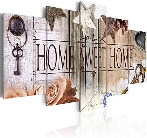 """Canvas Art Design – Home Sweet Home Painting Rustic Vintage Canvas Print Abstract Wall Art Home Office Decor 5 Panels (A, Over Size 40""""x20"""")"""